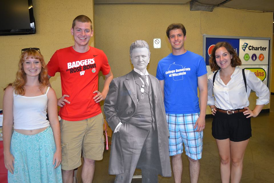 Some of our members volunteering at Fighting Bob Fest with Bob La Follette himself (kind of)