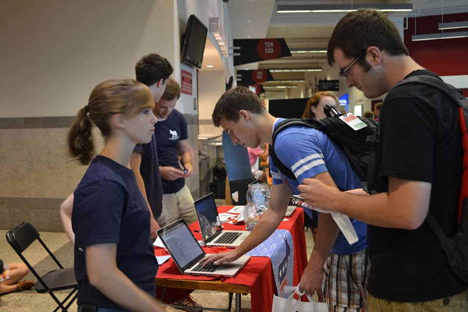 Signing up new members at the Student Org Fair!